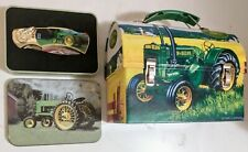 John Deere Mini Lunch Box Tin Can with Handle and Vintage  Knife w/  Display
