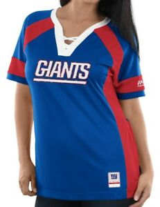 "New York Giants Women's Majestic NFL ""Draft Me 3"" Jersey Top Shirt - Blue"