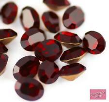 Raro 6x Swarovski Cristal Diamante de imitación de Siam Oval frustrado 4100 8mm X 6mm Rojo Profundo