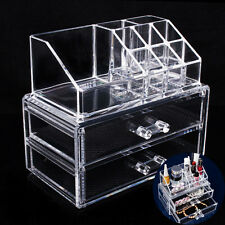 Clear Jewelry Cosmetic Organizer 2 Big Drawer Makeup Case Storage Holder Box NEW