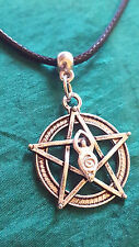 "Moon Goddess Spiral Pentacle Pendant, 20"" Cord Ideal Pagan Wiccan necklace"