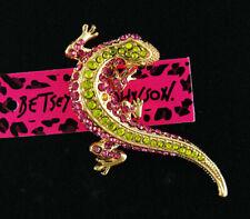 Betsey Johnson Women's Crystal Gecko Wall Lizard Charm Animal Brooch Pin