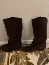 Banana Republic Brown Suede Leather Western Style Calf High Boots 7.5M