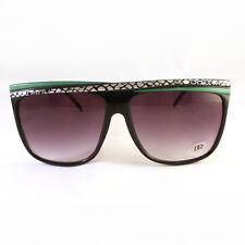 DQ Women's 80's VINTAGE Retro FLAT TOP Sunglasses BLACK GREEN