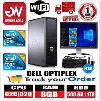 """DELL PC COMPUTER OPTIPLEX BUNDLE C2D/C2Q 8GB RAM 500GB 1TB HDD Win10 19"""" MONITOR"""
