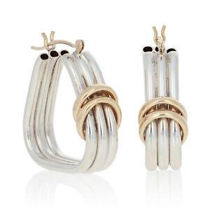 Sterling Silver & Yellow Gold Earrings - 925 & 14k Pierced Triangle Hoops