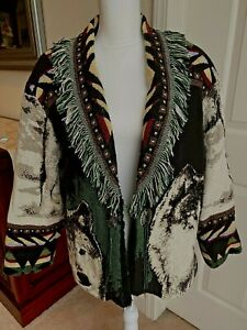 Original By Jan Jems Open Front Lined Tapestry Jacket Coat Wolf Women's Large
