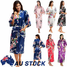 Women Silk Satin Floral Vintage Kimono Robe Wedding Bridal Bridesmaid Long Gown