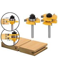 """2pcs 1/4"""" Shank Woodworking Tenon Groove Router Bit Wood Milling Cutter Tool New"""