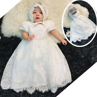 Newborn Baby Christening Gown Infant Lace Baptism Dress with hat/bonnet 3 6 12 M