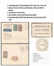 Fam 18 First Flight Cover Basse Terre to Paris via NY & Horta 1939 PanAm Clipper