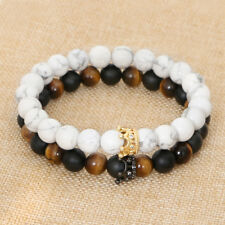 Distance Couple Bracelets Tiger Eye White Howlite CZ Crown King Queen 8mm Beads