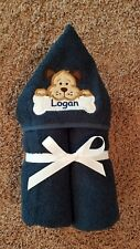 Personalized Navy Puppy Dog Hooded Towel