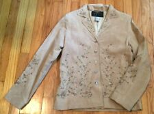 Eric Gaskins Couture Beige Small 100% Leather Jacket Beaded Embroidered Floral S