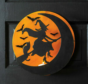 Halloween Hanging Moon Flying Witch Silhouette Candle Holder Decor Orange Black