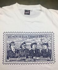 Vintage Mens XL 90s Women Armed Services Military Postage Stamp White T-Shirt