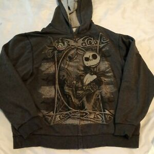 Nightmare Before Christmas Hoodie Sweatshirt Disney Store Gray Size XL XLarge