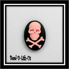 10 x Skull CrossBones 18x13mm Cameo gothic emo punk B&P