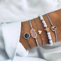 5 teiliges Armband Set Armreif Bohemian Indi Modeschmuck Glitzer Herz Welt Gold