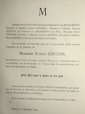 EUGENE COULON Braquehais Verdrel FAIRE PART Chassepot Lefevre Lepere ROUEN 1894