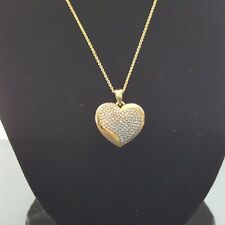 18K Yellow Gold Over Brass Diamond Accent Heart Pendant Necklace