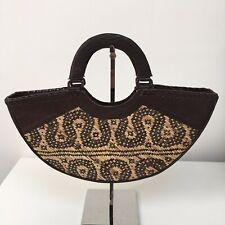 Half Moon Straw Bag Summer Handbag Brown Leather Trim Boho Festival Beach Bag