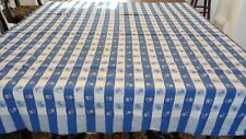 Vintage Woven Blue & White Check Gingham Tablecloth W/ Pear & Apple/Cherry Centr