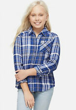 Justice Girl's Size 7 Long Sleeve Button Down Shirt in Blue & White Plaid New