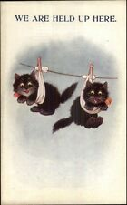 Kittens - Kitty Cats on Clothes Line HELD UP HERE c1920 Postcard
