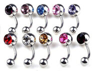 2-10x Stainless Steel Crystal Belly Button Ring Navel Bar Body Piercing Jewelry