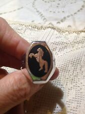 1980's Vintage Large Stainless Steel Size 13 Men's Horse Inlay Ring