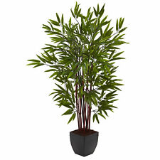 Bamboo Silk Tree W/Planter Realistic Artificial Nearly Natural 4' Home Decor