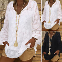 ZANZEA 8-24 Women V Neck Long Sleeve Pullover Crochet Lace Top Tee Shirt Blouse