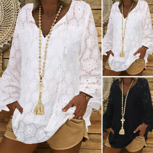 ZANZEA 8-24 Women V Neck Long Sleeve Pullover Crochet Lace Top Tee Shirt Blouse