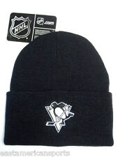 Pittsburgh Penguins NHL Black Cuffed w/ Logo Knit Hat Cap Ski Snow Winter Beanie