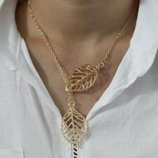 New Fashion Women Lady Golden Leaf Pendant Charm Plated Party Chain Necklace Hot