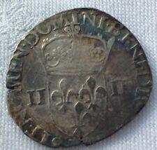 MONNAIE ROYALE FRANçAISE   EN ARGENT QUART D ECU  HENRI III 1581 RENNES