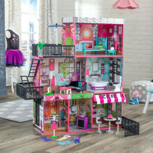 Kidkraft Brooklyn's Loft Dollhouse | Wooden Dollhouse with Cafe fits Barbie