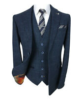 Cavani Men's Navy Blue Herringbone Check Tweed Suit Retro Wool Blend Suit Set