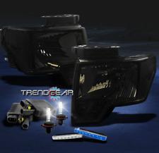 2009-2012 FORD F-150 PICKUP SMOKE CRYSTAL HEAD LIGHTS+BLUE DRL LED+6000K HID SET