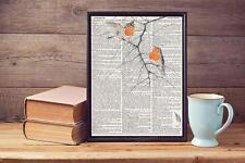 Rosso Robin petto VOLATILI nella struttura coperta di pagina di dizionario vintage, stampa artistica a4