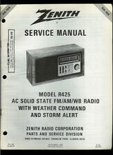 Zenith R425 FM/AM/WB Storm Alert Table Radio Rare Orig Factory Service Manual