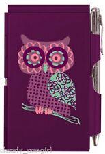 #8964 -- WELLSPRING PURPLE OWL ALUMINUM FLIP NOTE CASE PAD WITH PEN -WOW!