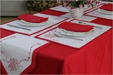 Christmas Bell Red Table Cloths, Runners, Placemats, Napkins