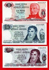 3 ARGENTINA BANKNOTES IN SUPERB CONDITION. 1, 5 & 10 PESO NOTES.