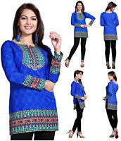 Blue Long Sleeves Women Fashion Indian Short Kurti Tunic Kurta Shirt Dress 126D