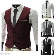 Moderno Hombre De Vestir Casual Camiseta corbata traje ajustado Esmoquin Chaleco