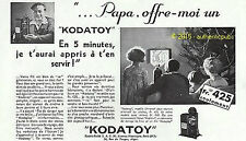 PUBLICITE KODAK PATHE KODATOY CAMERA FILM ENFANT DESSIN ANIME DE 1931 FRENCH AD