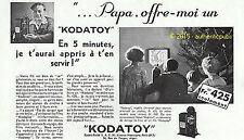PUBLICITE KODAK PATHE KODATOY CAMERA FILM ENFANT DESSIN ANIME DE 1931 FRENCH AD