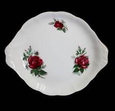 Vintage 1950s Royal Albert Sweet Romance dark red rose pretty cake plate
